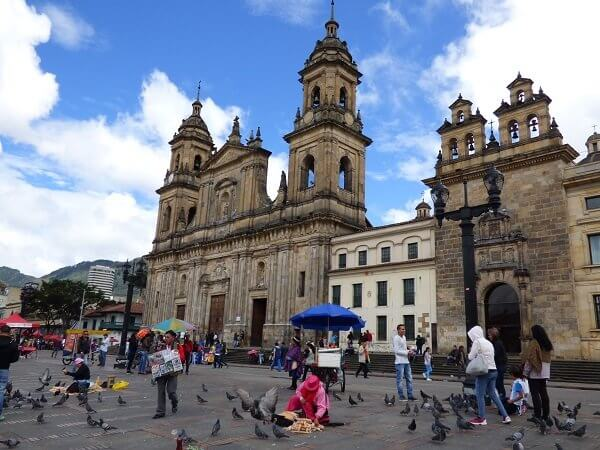 Bogota. Catedral Primada stands on the site where the first mass was celebrated on the founding of Bogota in 1538. The current building dates back to 1807 but wasn't fully completed until 1823. It is, by far, Bogota's largest church.