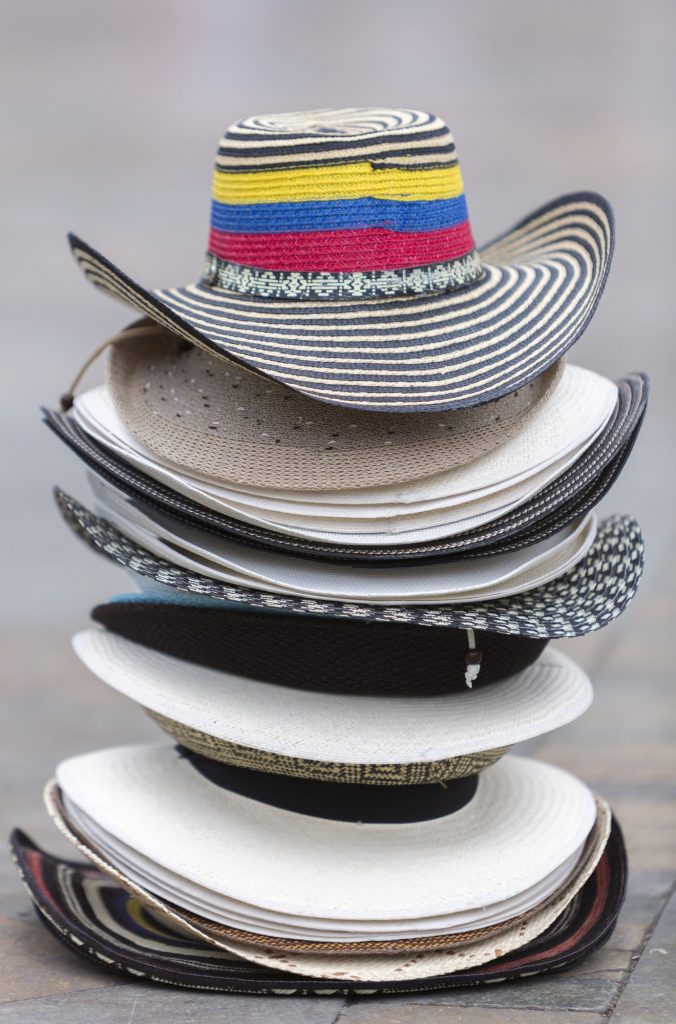 Colombian tourist hats on square in Medellin, Colombia