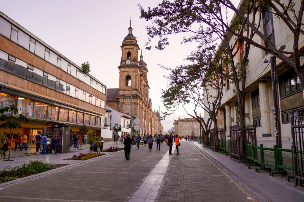The Primatial Cathedral of Bogotá in Plaza Bolivar. Street photography.